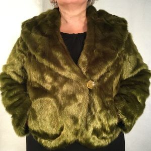 TERRY LEWIS | Green Hip Length Faux Fur Jacket -1X